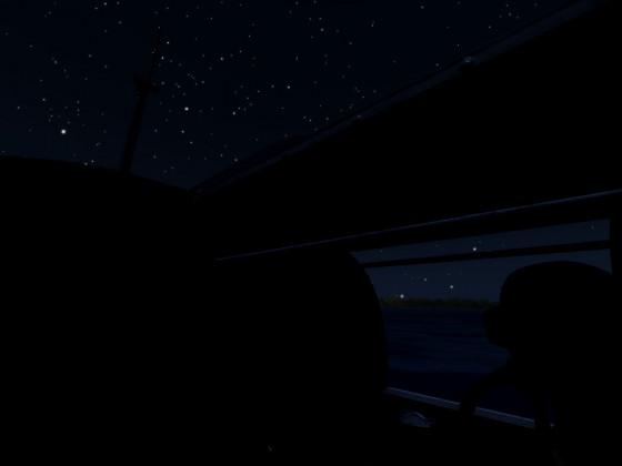Taucher vor Sternenhimmel